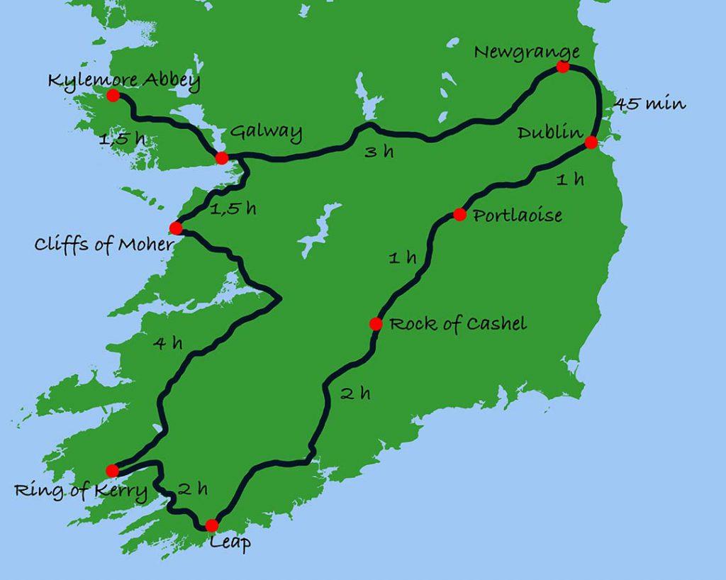Route Rundreise Irland mit Kindern Mietwagenreise