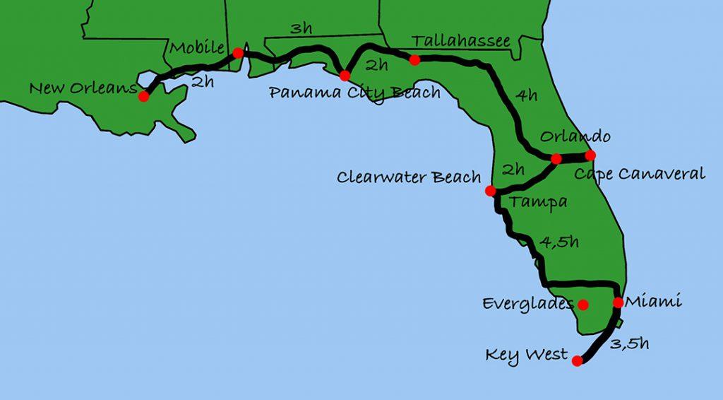 Florida Rundreise mit Kindern - unsere Reiseroute