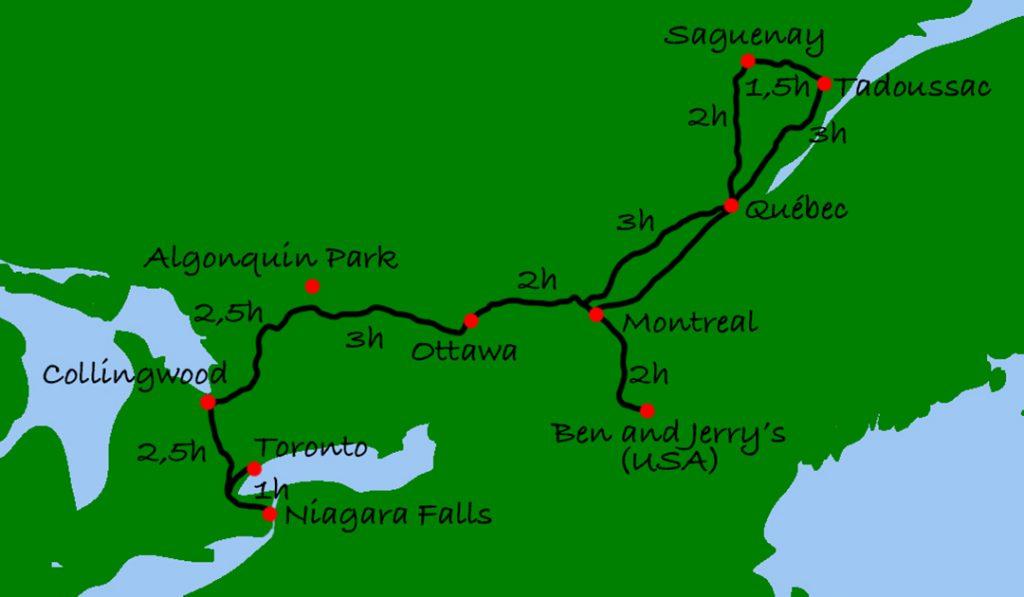 Kanada mit Kindern - die Reiseroute